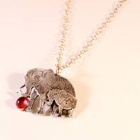 Circus Elephant Pendant, Silver Elephant Necklace, Mother Daughter Necklace, Baby Elephant, Mother's Day Gift, Birthstone Necklace