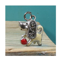 Marcasite Charm Puppy Dog Playing with a Red Ball • .925 Sterling Silver Enamel Pendant • Silver Charm for Bracelet or Necklace