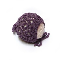 Lavender baby hat in merino wool, newborn