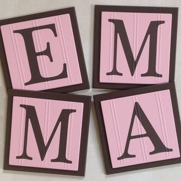 Pink And Brown Baby Nursery Name Wall Letters Room