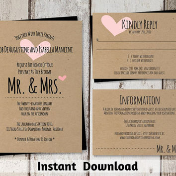 Wedding Invitation Template - Printable Set | Mr and Mrs with Heart & Rustic Font on Kraft Paper | Editable DIY PDF - Instant Download