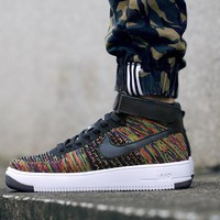 Originals Nike Air Force One 1 Flyknit Mid White / Black Running Sport Casual Shoes '07 817420-009 Sneakers