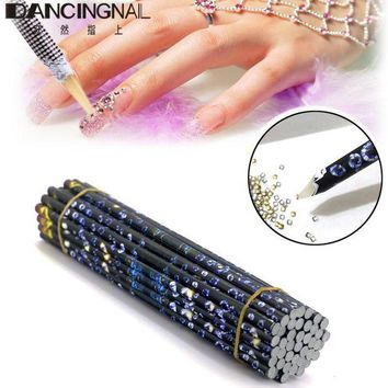 DCCKWQA 10pcs Nail Pick Up Acrylic Pencil Dotting Pen Wax 3D Resin Rhinestones Gems Bead Nail Art Picking Tools DIY Beauty Accessories