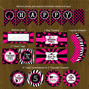 Rockstar Hot Pink Printable Birthday Party Package - Rock Star Diva Complete Birthday Set - Invitation, cupcake toppers, banner etc