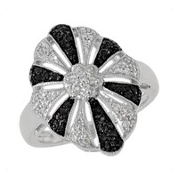 Black Diamond and Diamond Fashion Ring 3/8ctw