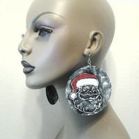 Denim Round Fabric Earrings Embellished Santa Claus Design, Large Fabric Earrings, Women Earrings, Large Earrings, Big Earrings
