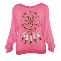 Wildfox Dream Weaver Baggy Beach Jumper in Fast Times Pink