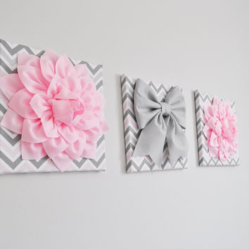 Set of Three Large Light Pink Dahlias and Gray Bow on Pink and Gray Chevron Canvases