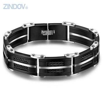 ZINDOV Stainless Steel Black Cable Bracelet Bangle For Mens Black Ceramic Luxury Top Quality Bridal Jewelry Male Wristband Heavy