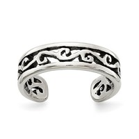 Sterling Silver Open Filigree Antiqued Toe Ring