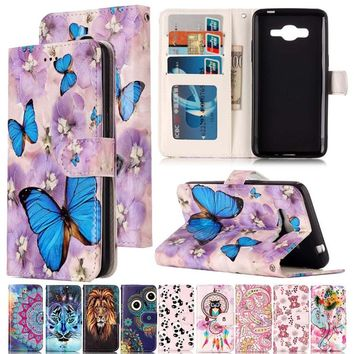 Varnish Relief Leather Case For Samsung Galaxy J2 Prime Leather Flip Wallet Cover For Galaxy J310 J3 2017 Mobile Phone Shell