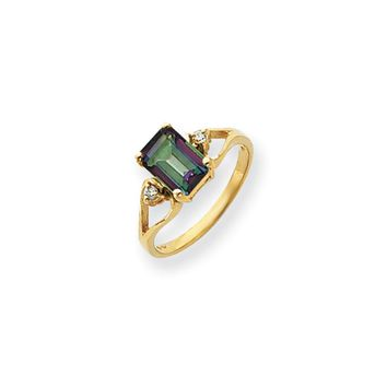 14k Yellow Gold Diamond Mystic Topaz Ring I1 Clarity and G/I Color