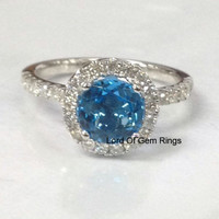 Round Sky Blue Topaz Engagement Ring Pave Diamond Wedding 14K White Gold 7mm