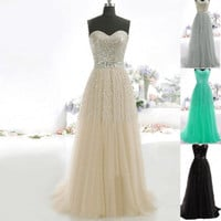 2015 New Women Lace Strapless Prom Dress Party Evening Cocktail Gown Ball Long Dresses = 1931427716