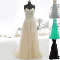 2015 New Women Lace Strapless Prom Dress Party Evening Cocktail Gown Ball Long Dresses