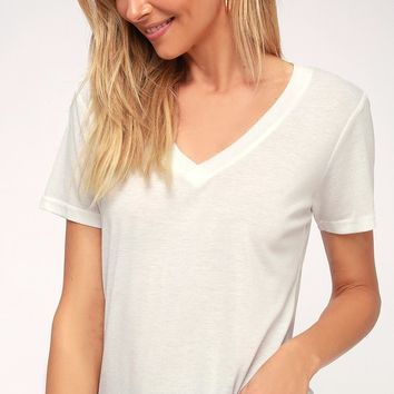 Rowan White V-Neck Tee