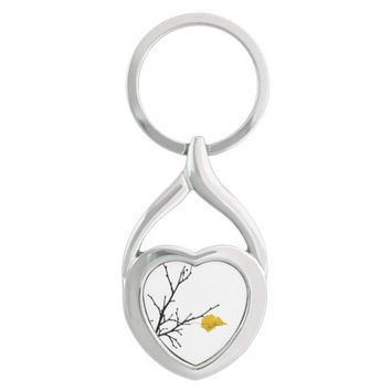 Yellow Lime Tree Leaf Silver-Colored Heart-Shaped Metal Keychain