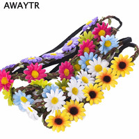 Flower Bohemia Headband Hair Accessories Jewelry Women Beach Flower Hair Bands Headband for Girls Elastic Flower Crown Headband