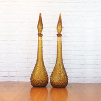 PAIR Vintage Italian Empoli Amber Bubble Glass Genie Bottle Decanters with Flame Stoppers