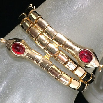 Double Snake Head Bracelet, Art Deco Style, Red Glass Head, Gold Tone Setting, Egyptian Revival, Figural Vintage Reptile Jewelry 618ms