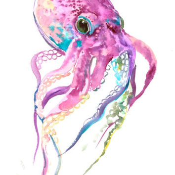 Violet Octopus original watercolor 12 x 9 in deep red violet blue art