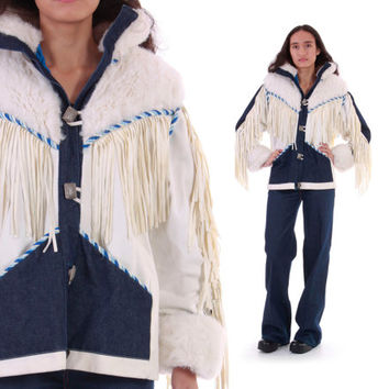 White Fringe Faux Fur Vegan Suede Denim Jacket Native American Avant Garde Rare Unusual 80s Winter Outerwear Womens Size Small Medium
