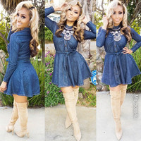 Dark Blue  Denim Long Sleeves Belted Mini Dress