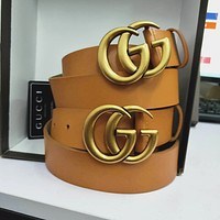 GUCCI Trending Woman Men Stylish Smooth Buckle Brown Leather Belt I/A