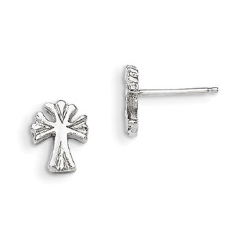 925 Sterling Silver Casted 9mm Forked Cross Girls Stud Earrings