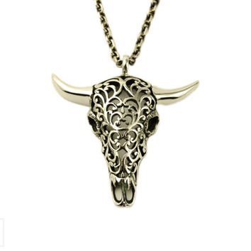 Buffalo Skull Necklace Jewelry Skull Charm Pendant with Chain Gothic Steampunk - FPE008 YB/WB/SS