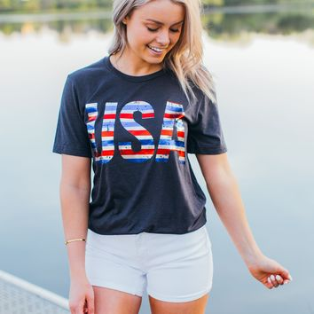 USA Striped Tee (S-2X)