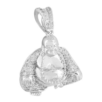 Mens Buddha Pendant Buddhist 14K White Gold Finish Clear Lab Diamonds