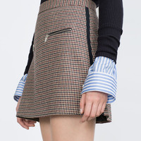 CHECK MINI SKIRT WITH ZIPS