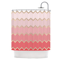 "Monika Strigel ""Avalon Coral Ombre"" Pink Chevron Shower Curtain"