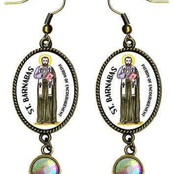 "Saint Barnabas Patron of Encouragement Antique Bronze Gold Iridescent Rhinestone Long 2 1/2"" Dangling Earrings"