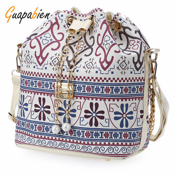 Guapabien Bohemia Canvas Drawstring Bucket Bag Shoulder Handbag Faux Pearl Letter Bag Multi Purposes Tote Shoulder Crossbody Bag