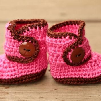 Crochet Baby Booties - Baby Boots - Pink and Brown Baby Shoes - Chocolate and Pink Ba