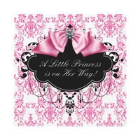 Pink Black Damask Princess Baby Girl Shower Invites from Zazzle.com