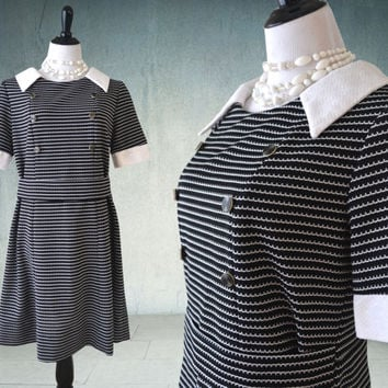 1960s Mod Dress Black and White Dropped Waist