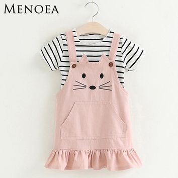 Girls Clothing Sets 2018 New Lovely Kitten Children Clothes Sets Kids Clothes Pullover Stripe T-Shirt Cute Style For 3-7