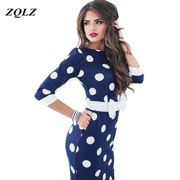 ZQLZ 218 New Print Dot Vintage Dress O Neck Three Quarter Sleeve Evening Party Dresses African Women Clothes Sexy Dress