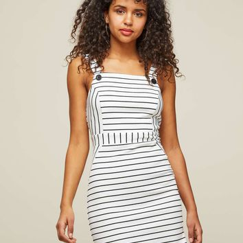 White Buttoned Striped Pinafore Dress | Missselfridge