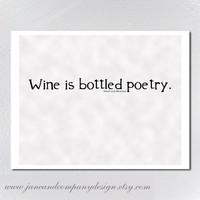 Wine is Bottled Poetry Stevenson Wall Art by JaneAndCompanyDesign