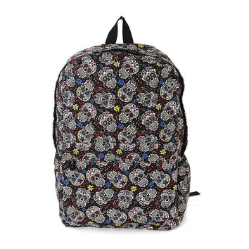 Sugar Skull Day of the Dead Canvas Backpack Bag