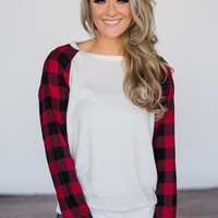 Fireside Kisses Ivory & Buffalo Plaid Top