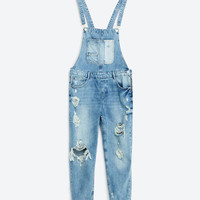 SLIM DENIM DUNGAREES WITH RIPS - JUMPSUITS-WOMAN-COLLECTION AW16 | ZARA United States