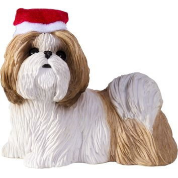 Sandicast Standing Gold & White Shih Tzu w/ Santa's Hat Christmas Dog Ornament