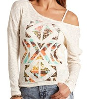 FLORAL TRIBAL PRINT LONG SLEEVE SHIRT