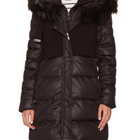 Tahari Outerwear Women's Allegra Hooded Puffer Coat with Faux Fur Trim