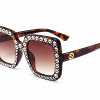 GUCCI new women's diamond sunglasses personalized fashion sunglasses